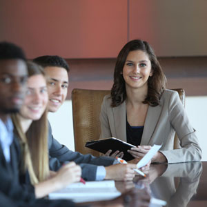 students in a conference room