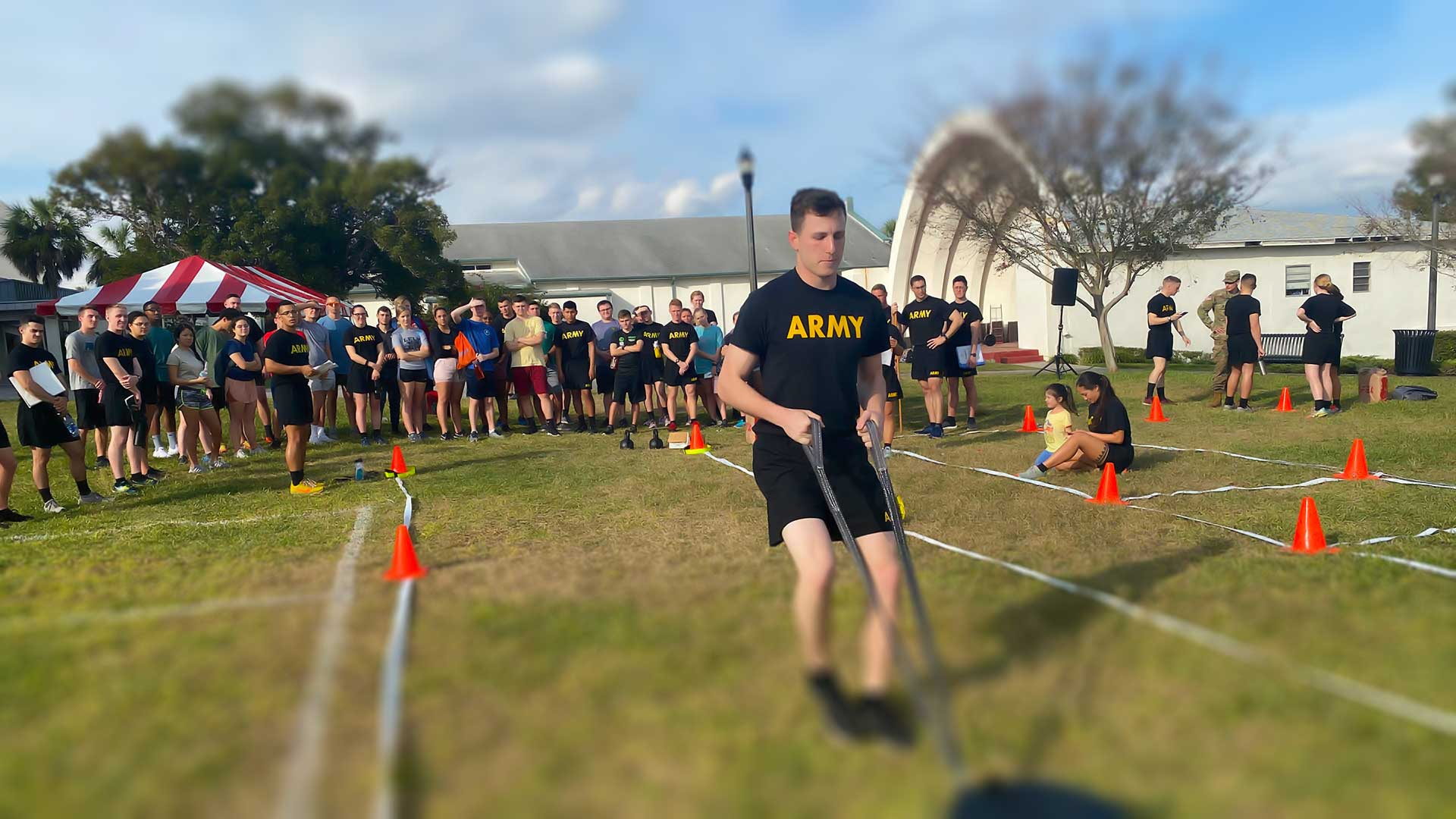 ROTC students competing in PT training