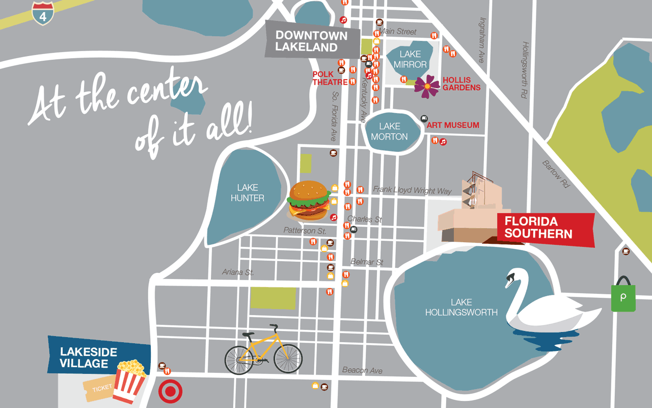 downtown lakeland map with caption florida southern is at the center of it all!
