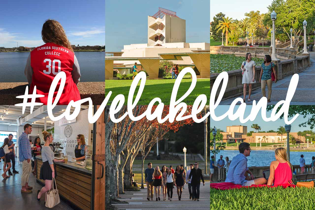 photo montage of lakeland locations with hash tag #lovelakeland