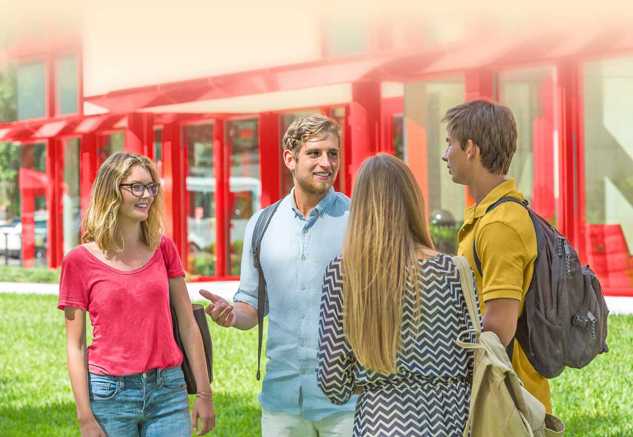 students talking outside in a group