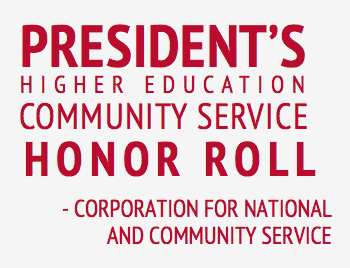 ranked the number 8 college most committed to community service by washington monthly