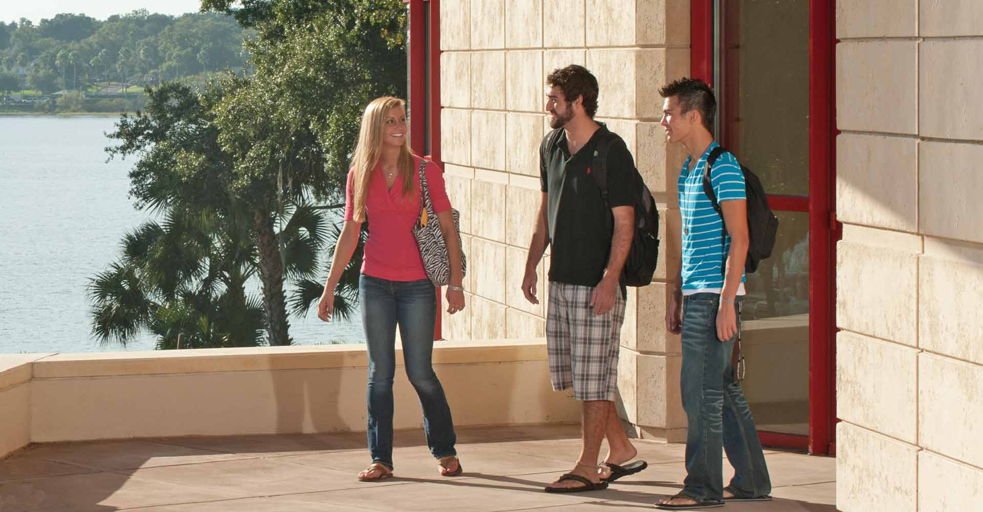 Students walking around the beautiful Florida Southern College campus.
