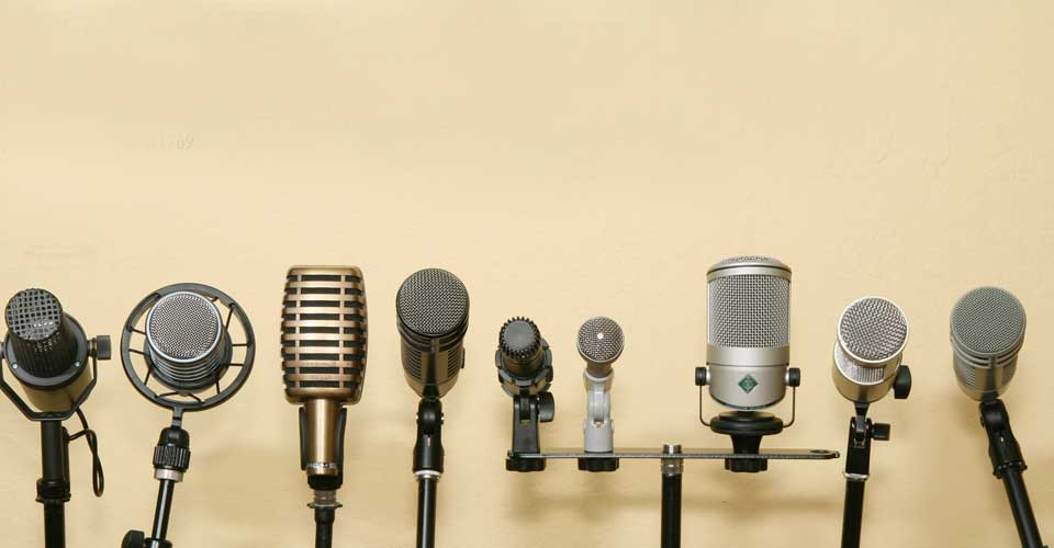 A series of microphones from different eras