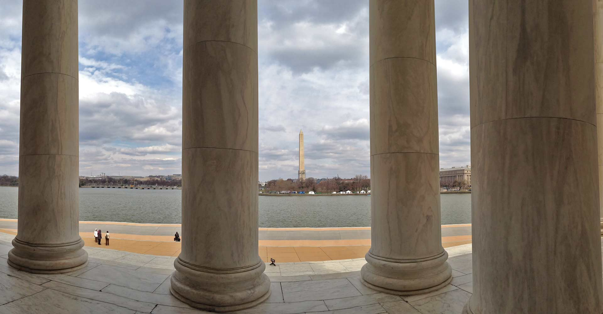 Columns against a Washing D.C. backdrop