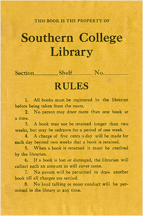 Photo: 1920's Library Rules