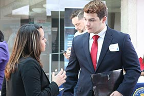 students and employers at a career fair