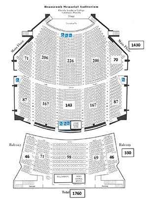 Seating chart for Branscomb Auditorium