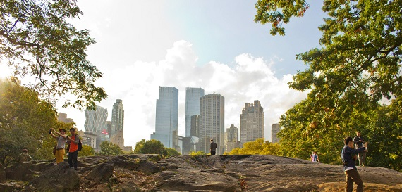 View of New York skyline from Central Park.
