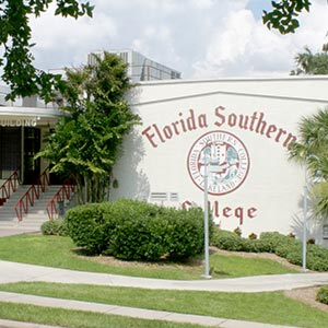 florida southern college seal on the side of the wolfe building