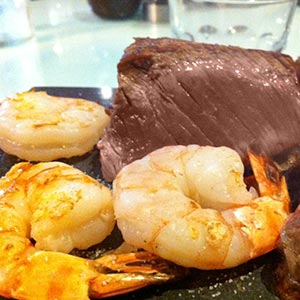 steak and shrimp on a plate