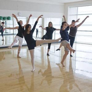 Students at wellness dance class