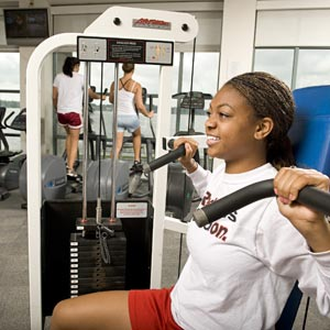 Student using wellness machine