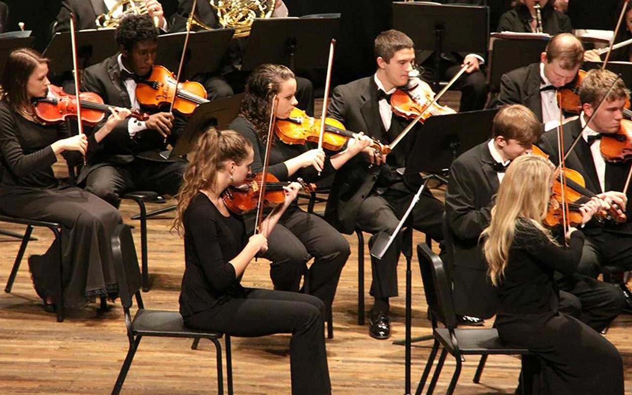 music students playing a concert