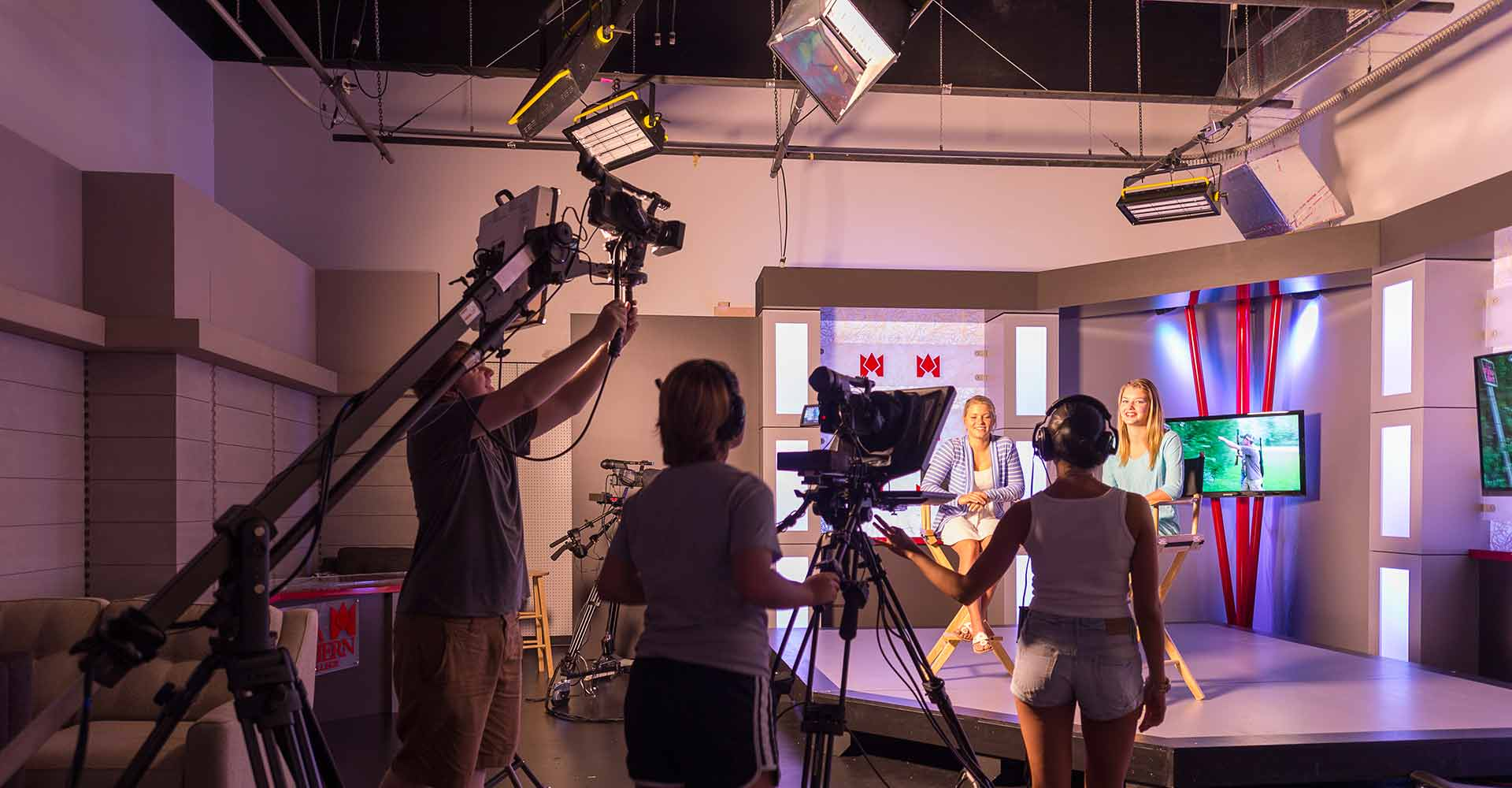 communication students shoot a show in a studio