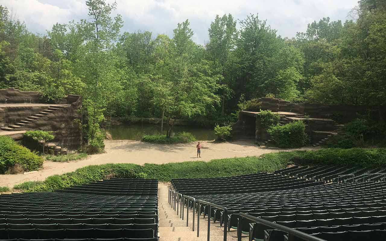 Theatre Student, Zachary Holmer '19, at Tecumseh Outdoor Theatre in Ohio, where he is working as a performer this summer.