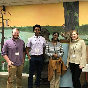 FSC students attending the 4th Annual South Florida Primatology meeting. L-R: Ryan Hegseth '20, Malique Bowen '20, Guerbine Fils-Aime '18, and Carly Miles '19