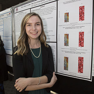 Kenzie Hurley '19 in front of research poster