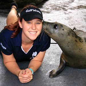 Ellen Cuppage with one of the seals she works with.