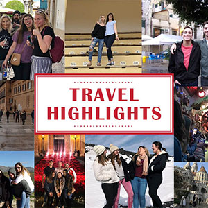 Travel Highlights graphic with student's pictures in the background.