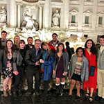 group photo of students taken in italy