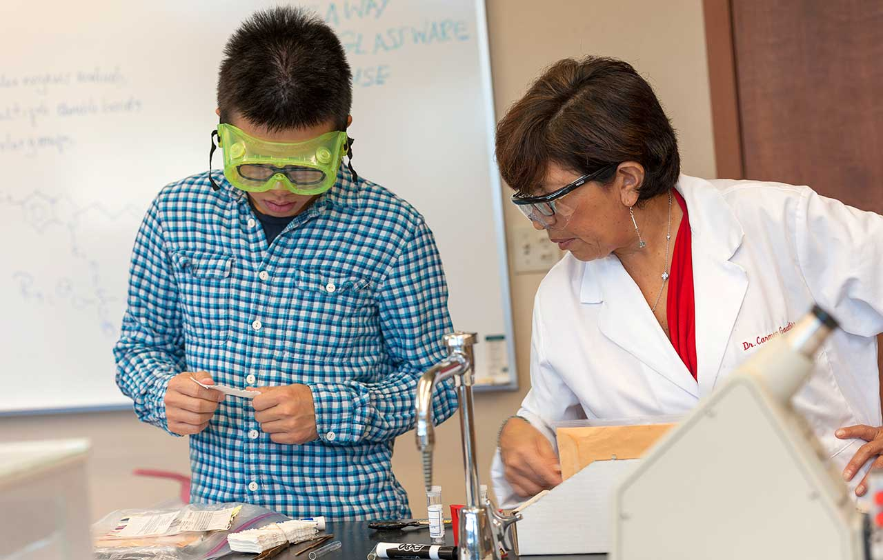 chemistry student and professor working together in the lab