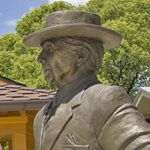 Frank Lloyd Wright statue at Sharp Family Tourism and Education Center