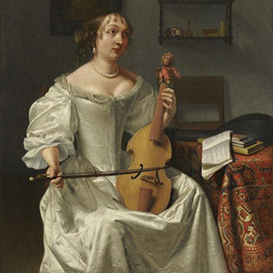 "Works such as Joost Van Gee's ""Woman Playing a Viola"" will be on display at the exhibit."