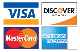 We accept Discover, Mastercard, Visa, and American Express