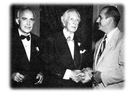 Photo of Dr. Ludd Spivey, architect Frank Lloyd Wright, and Publix founder George W. Jenkins share an historic moment at Florida Southern.